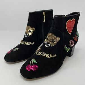 Kate Spade Liverpool Ankle Bootie Black Suede Boot